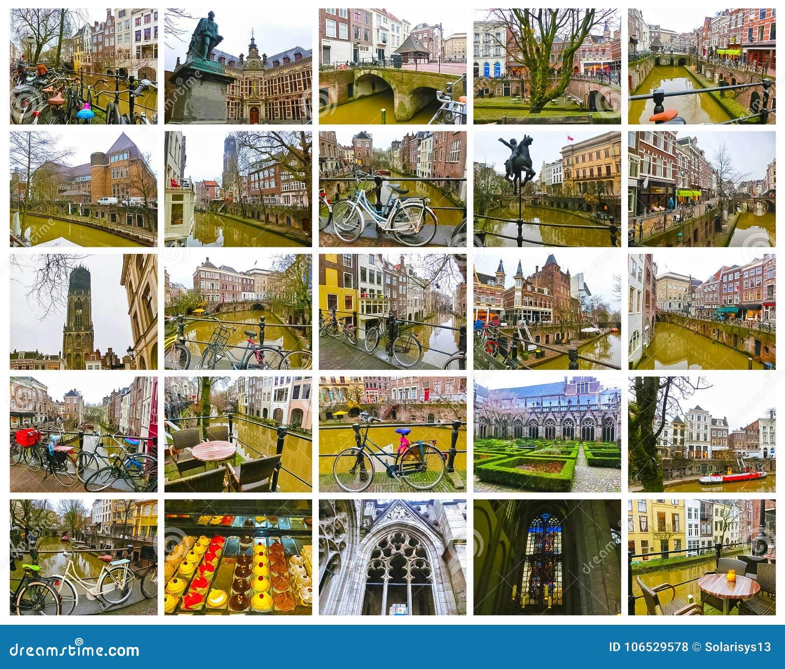 Los canales y los terraplénes más famosos de la ciudad de Utrecht en el invierno