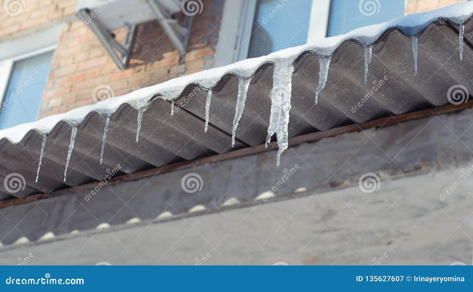 Los carámbanos de fusión grandes cuelgan del tejado del edificio Peligro para los transeúntes, amenaza de la muerte y lesión de l