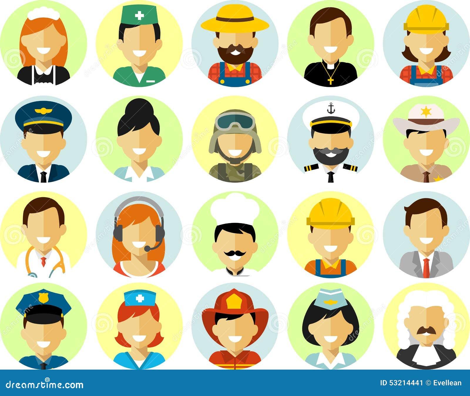 Los caracteres del empleo de la gente fijaron en estilo plano aislado en el fondo blanco