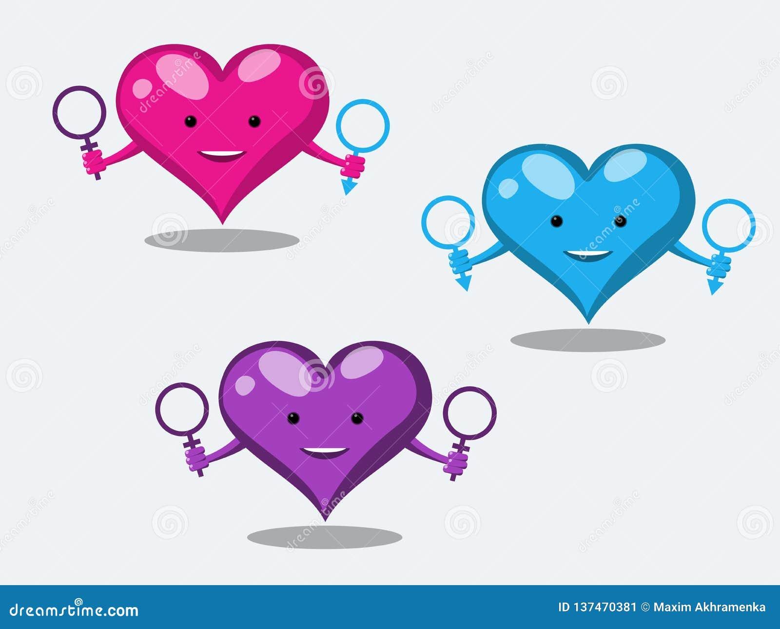 Los caracteres divertidos del corazón muestran las relaciones sexuales poco convencionales que llevan a cabo los símbolos de un h