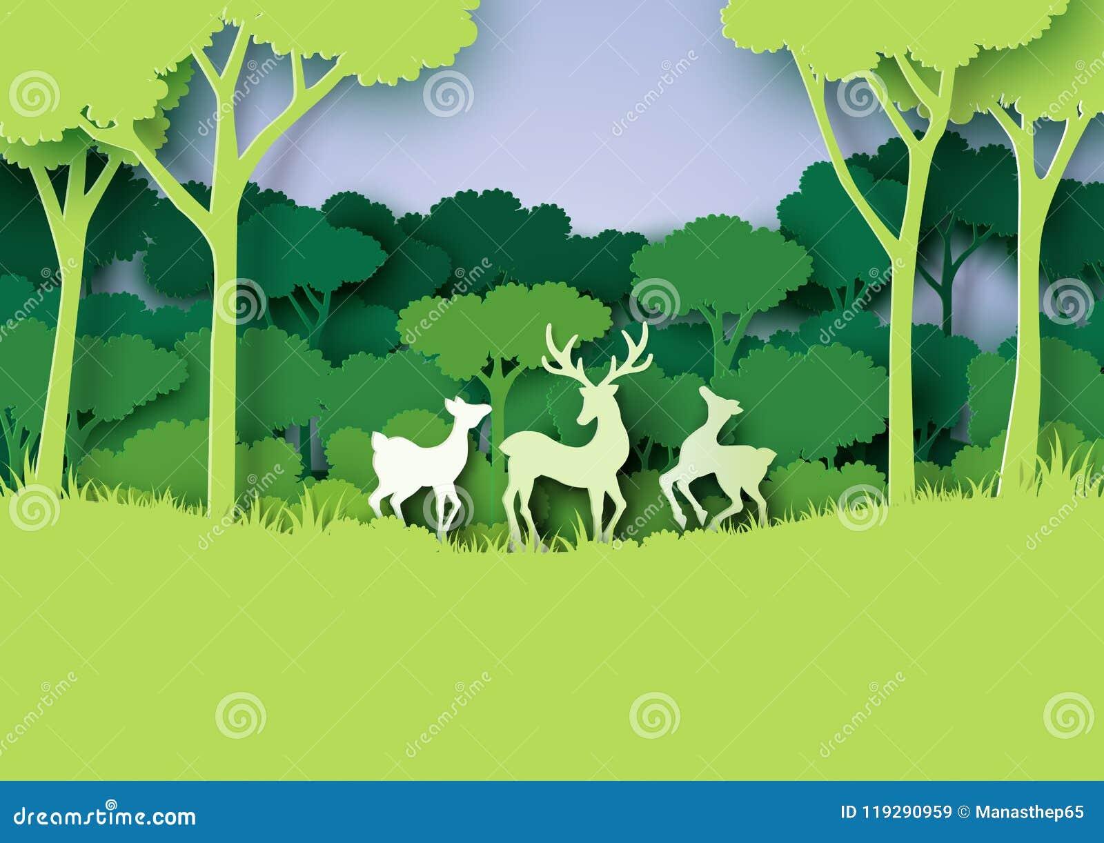 Los ciervos familia y el bosque de la naturaleza ajardinan el estilo de papel del arte
