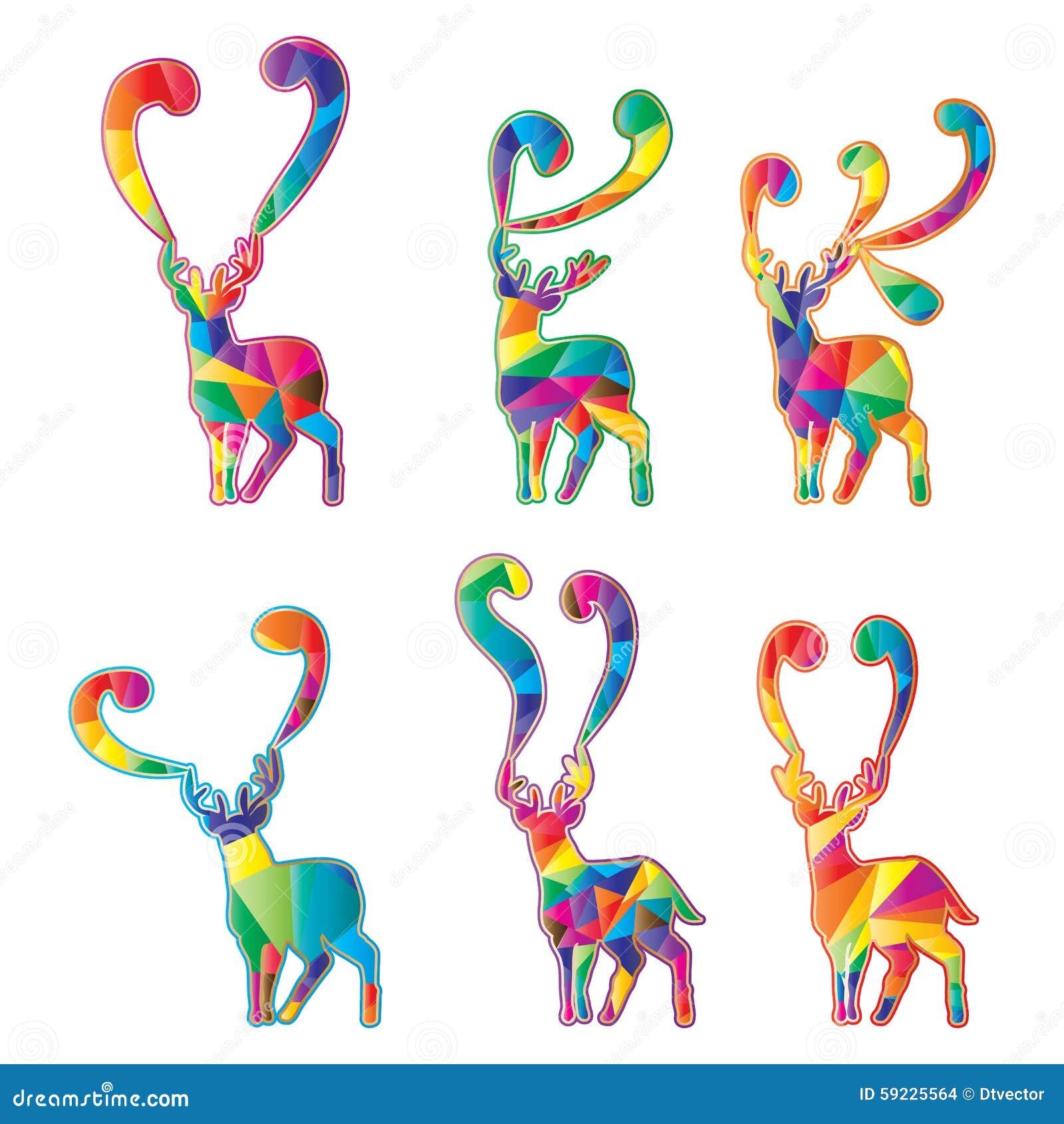 Download Los Ciervos Siluetean El Sistema Colorido Del Corte Ilustración del Vector - Ilustración de emblema, diseño: 59225564