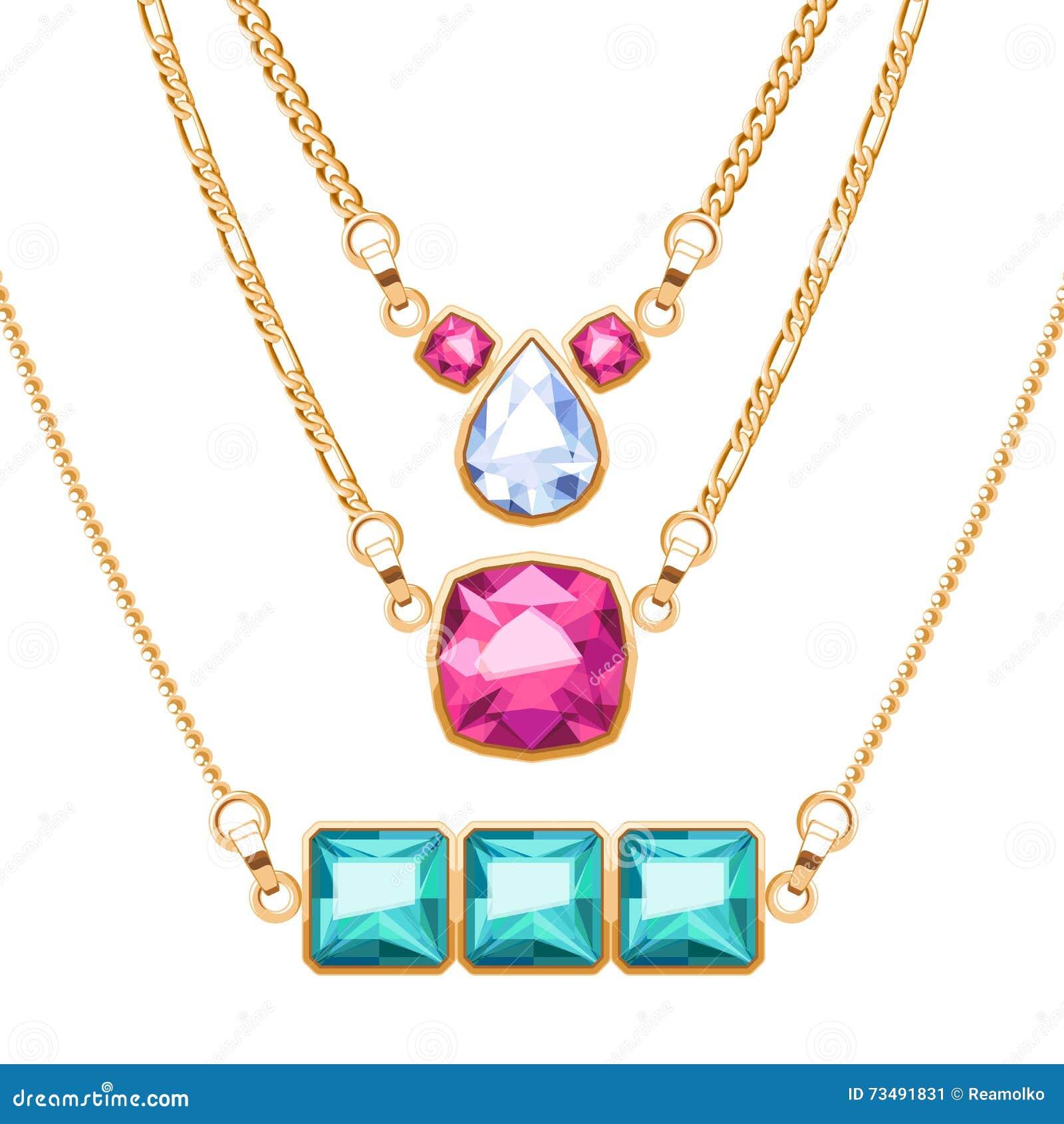 895a053908b3 Los collares de la cadena de oro fijaron con el diamante de rubíes y los  colgantes esmeralda de las piedras preciosas Diseño del ejemplo del vector  de la ...