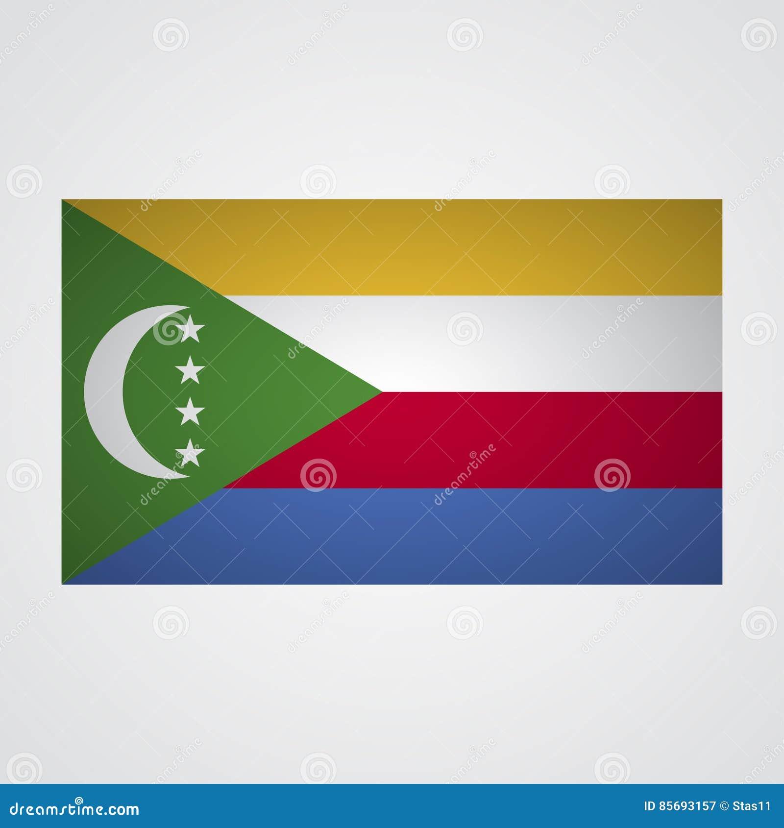 Los Comoro señalan por medio de una bandera en un fondo gris Ilustración del vector
