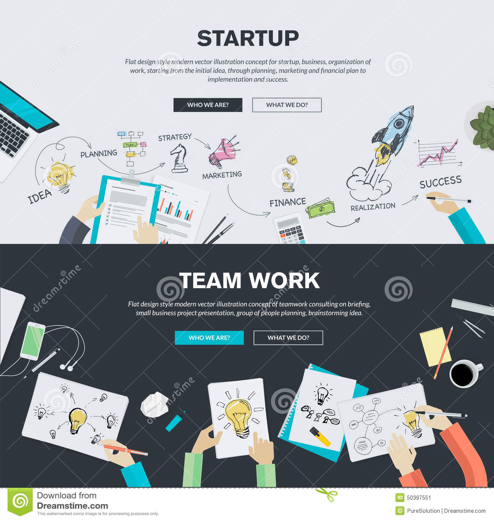 Los conceptos planos del ejemplo del diseño para la puesta en marcha del negocio y el equipo trabajan