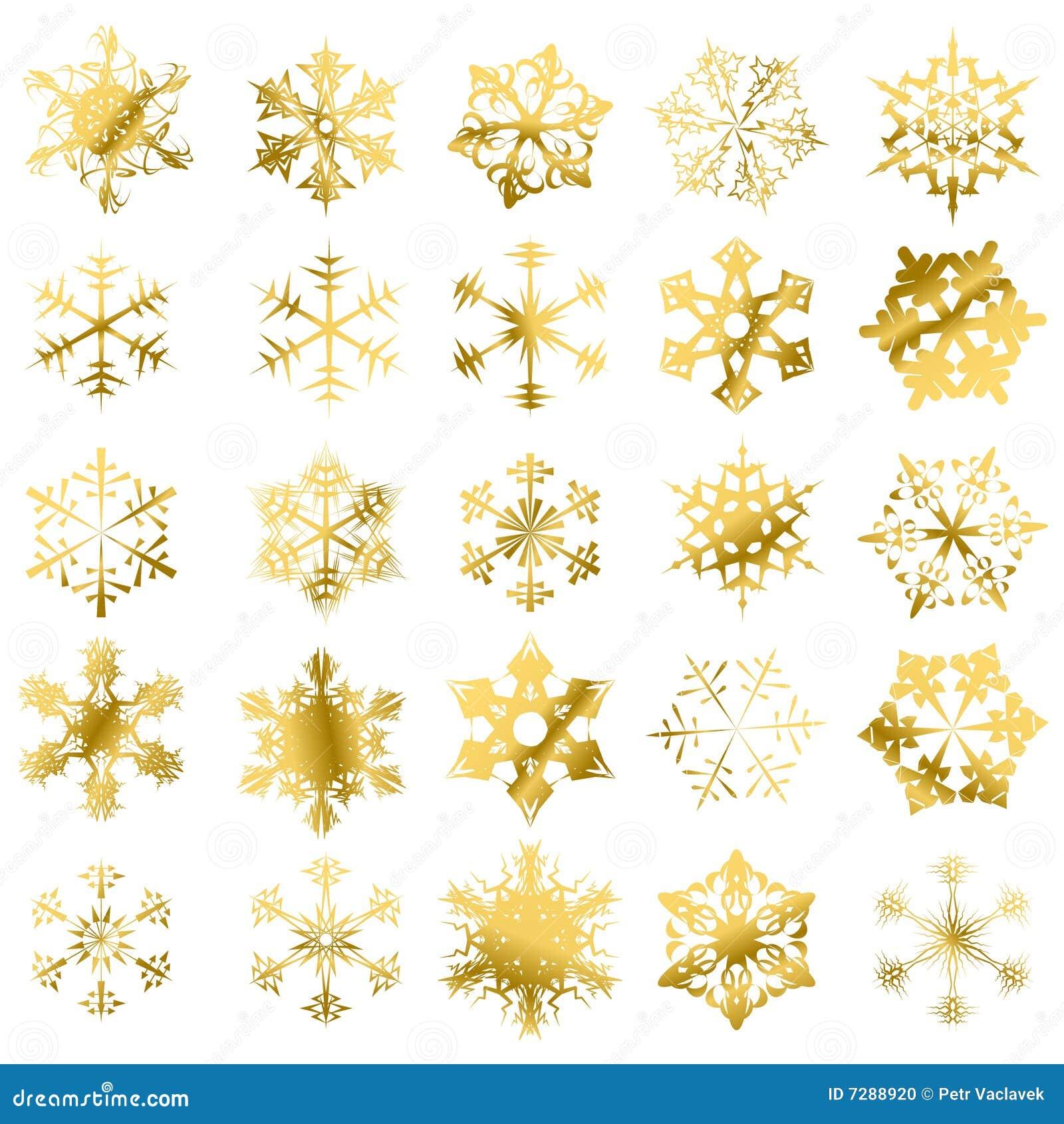 Los copos de nieve de oro aislaron