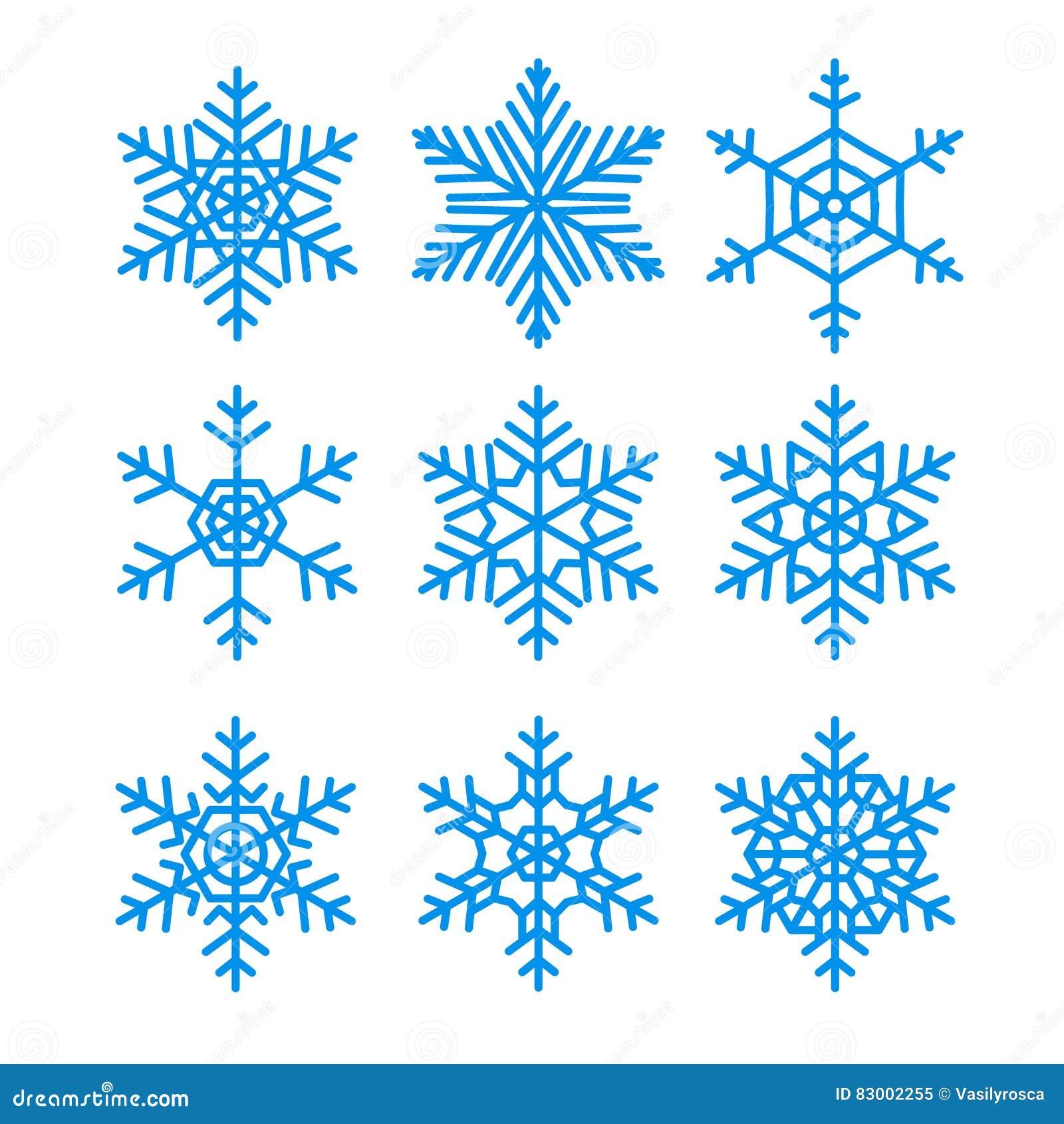 Los Copos De Nieve Vector El Conjunto Paquete Del Vector De ...