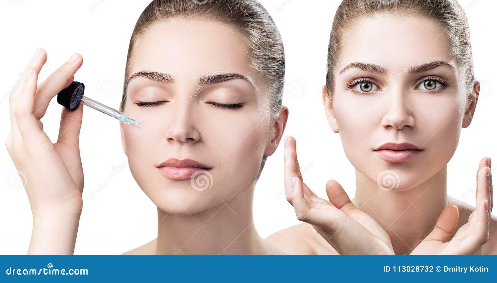 Los cosméticos engrasan la aplicación en cara de la mujer joven