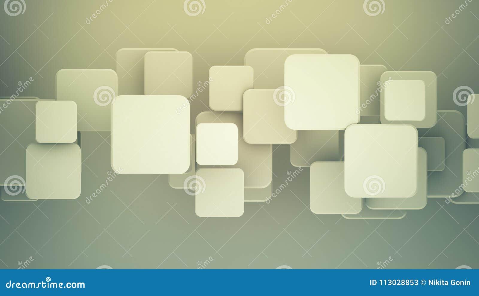 Los cuadrados traslapados 3D rinden el fondo abstracto