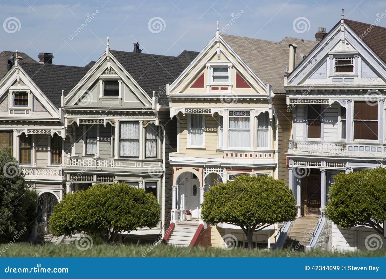 Los Cuatro Pintaron Casas De Las Hermanas En San Francisco California Imagen De Archivo Imagen De Pintado Colorido 42344099