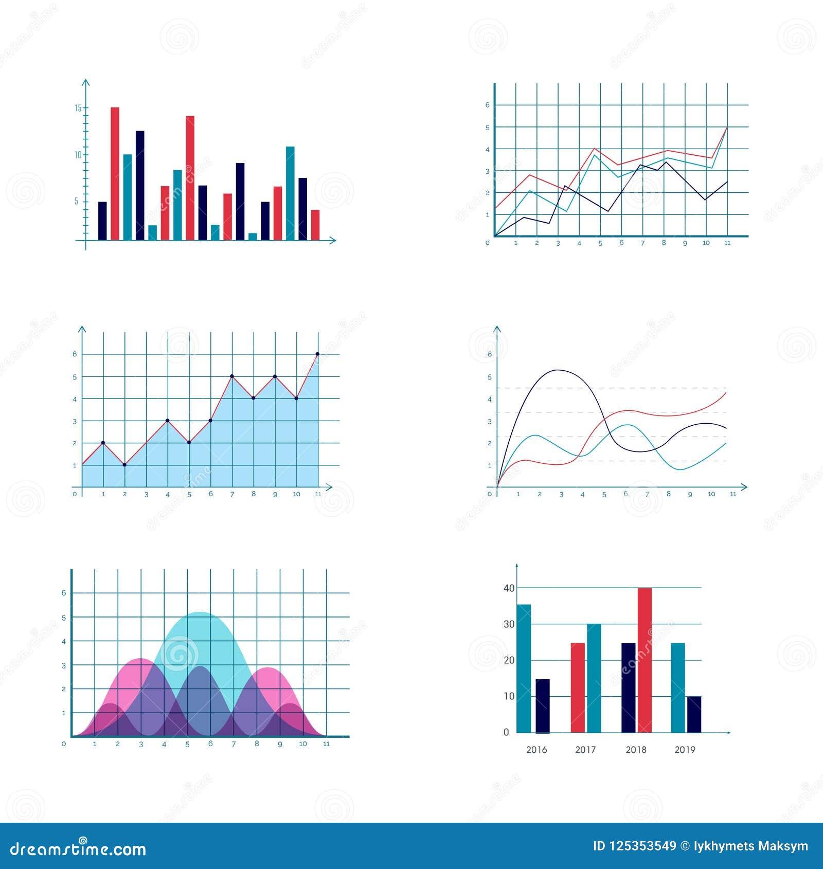 Los datos de negocio comercializan los diagramas de cartas de barra de la empanada del punto de los elementos y los iconos planos