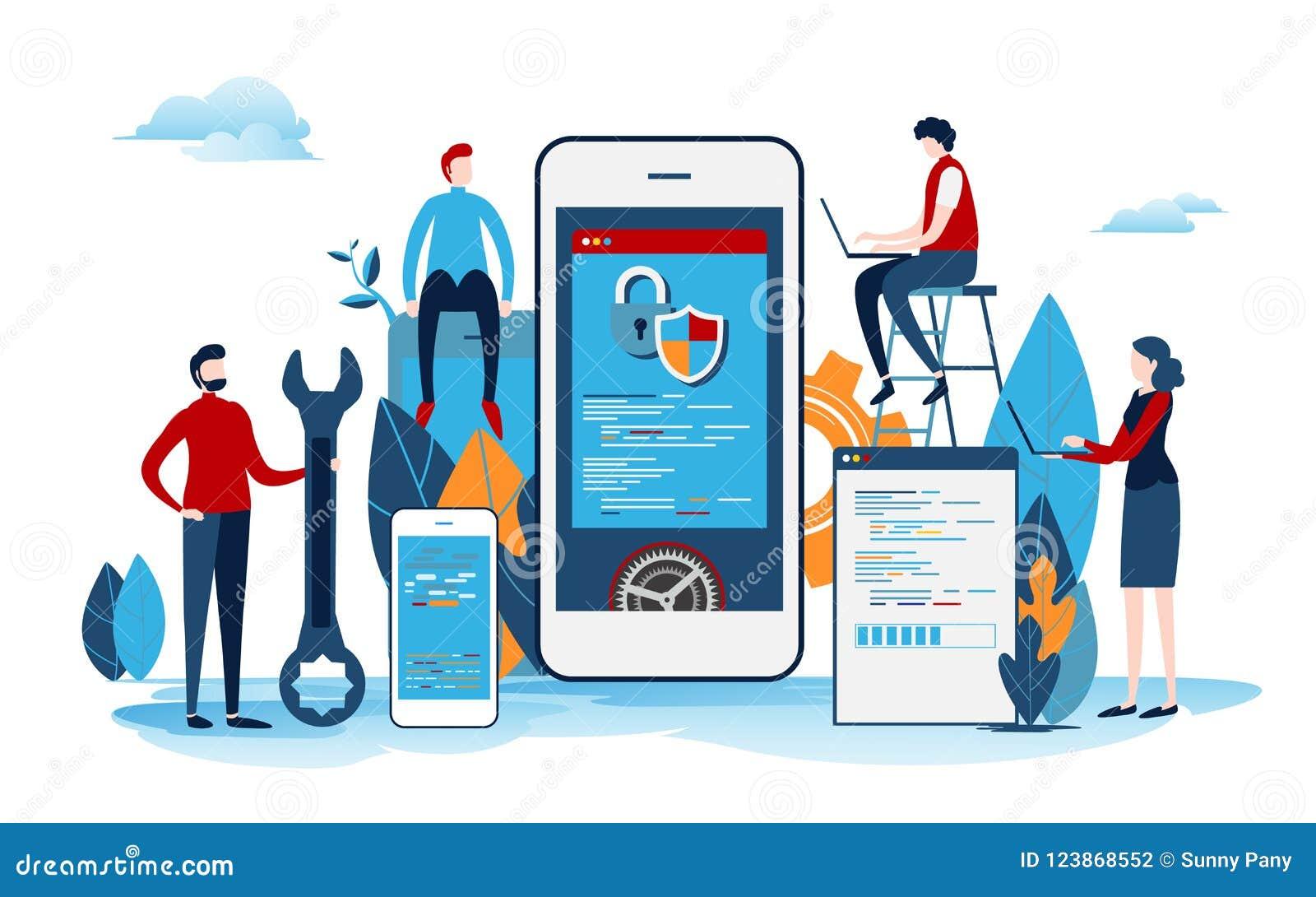 Los desarrolladores crean el proyecto de inicio Proceso de desarrollo de la aplicación móvil Interfaz de usuario Vector plano de