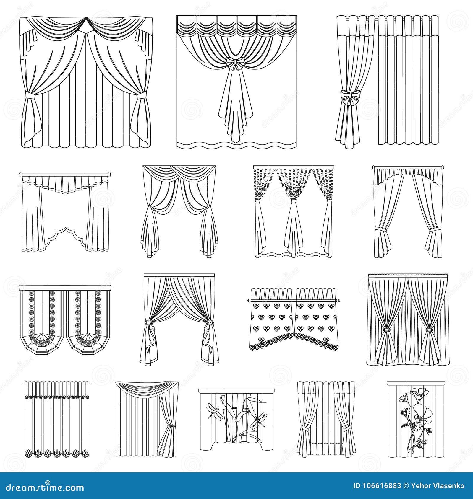 Los diferentes tipos de cortinas resumen iconos en la colecci n del sistema para el dise o - Diferentes tipos de cortinas ...