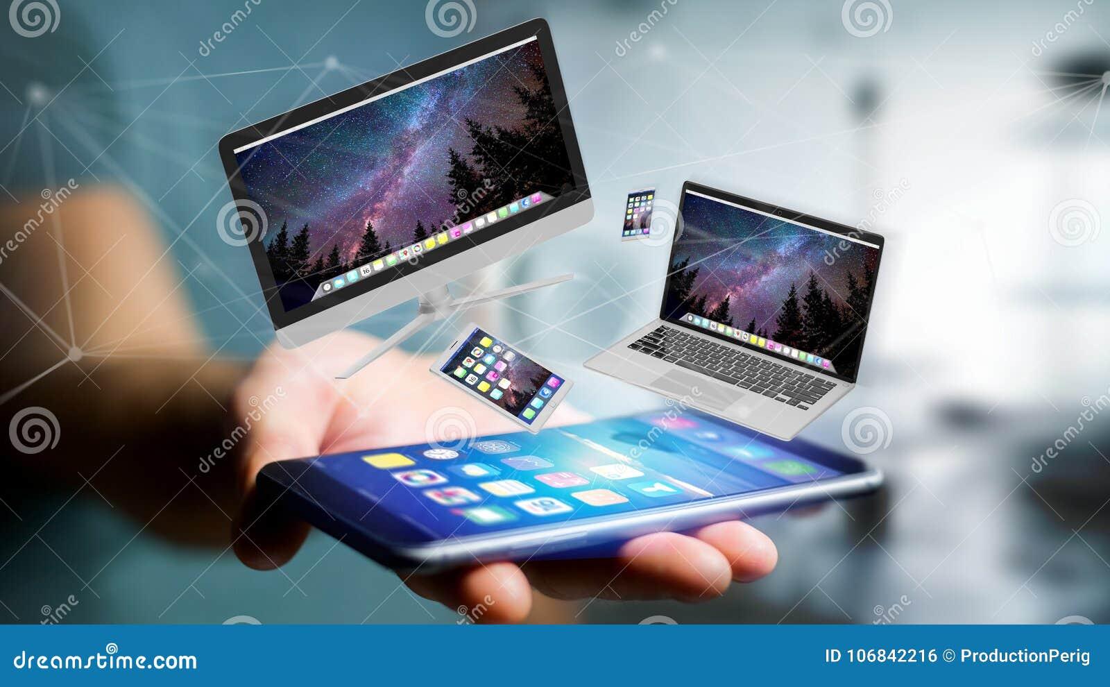 Los dispositivos les gusta el smartphone, de la tableta o del ordenador volando sobre connecti