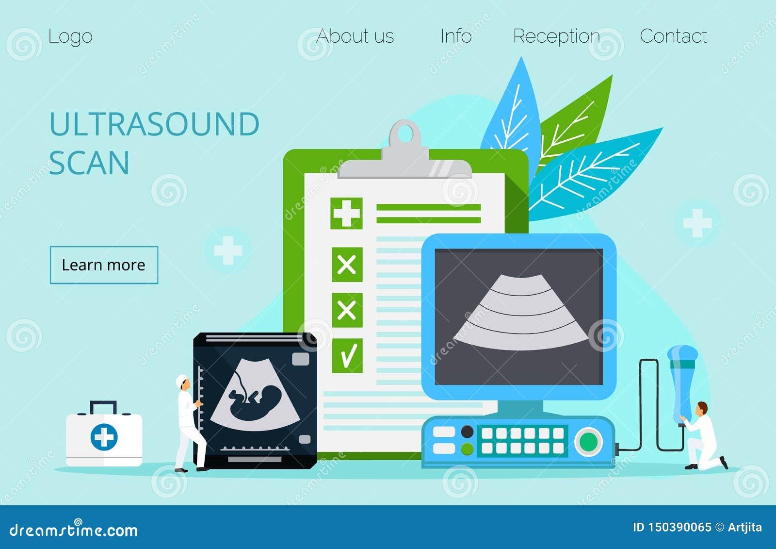 Los doctores minúsculos están haciendo el feto del ultrasonido
