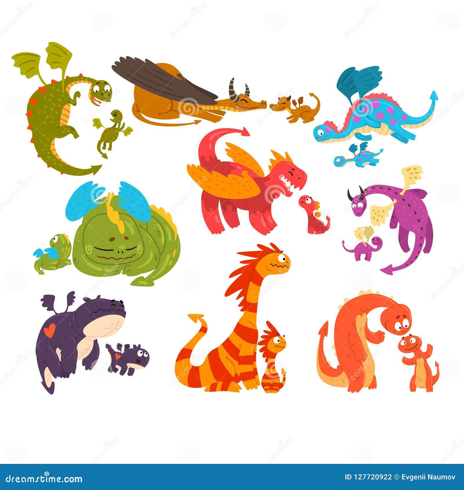 Los dragones maduros y los dragones del bebé fijaron, las familias de ejemplo mítico del vector de los personajes de dibujos anim
