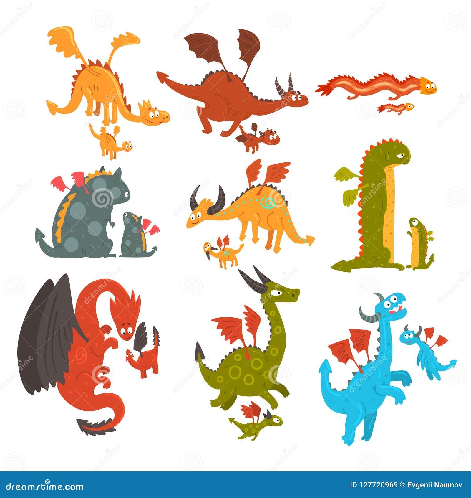 Los dragones maduros y los pequeños dragones del bebé fijaron, las madres cariñosas y sus niños, familias de historieta mítica de