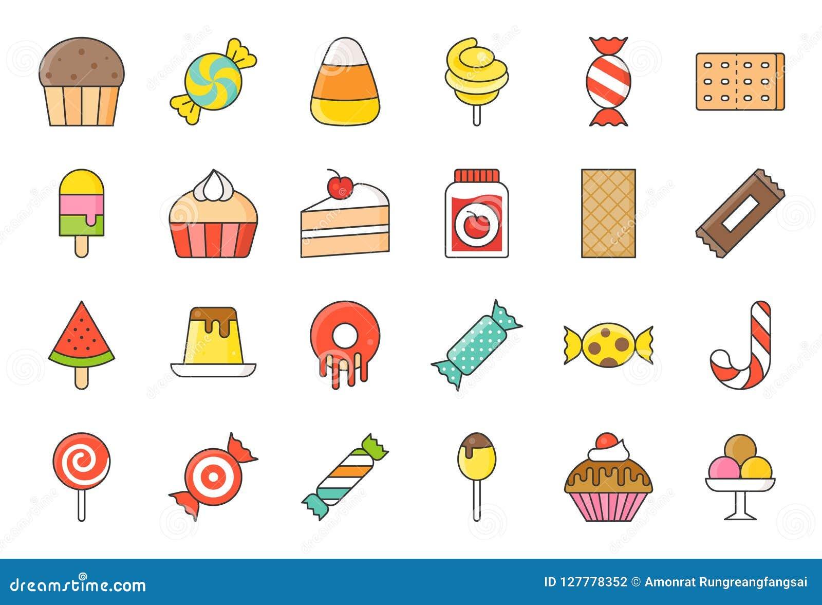 Los dulces y el icono del caramelo fijaron 2/2 estilo llenado del esquema