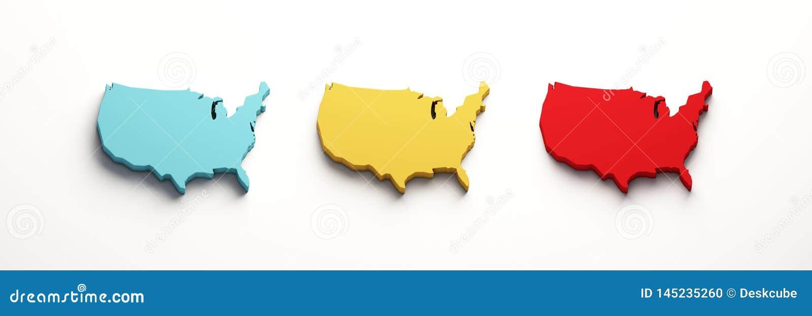 Los E.E.U.U. colorean los mapas de Estados Unidos 3d rinden la ilustraci?n