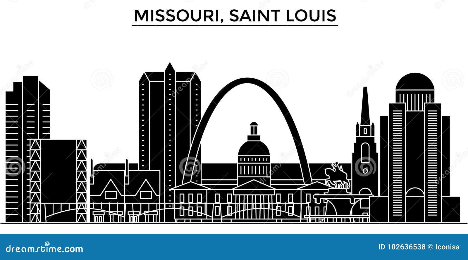 Los E.E.U.U., Missouri, Horizonte De La Ciudad Del Vector De La ...