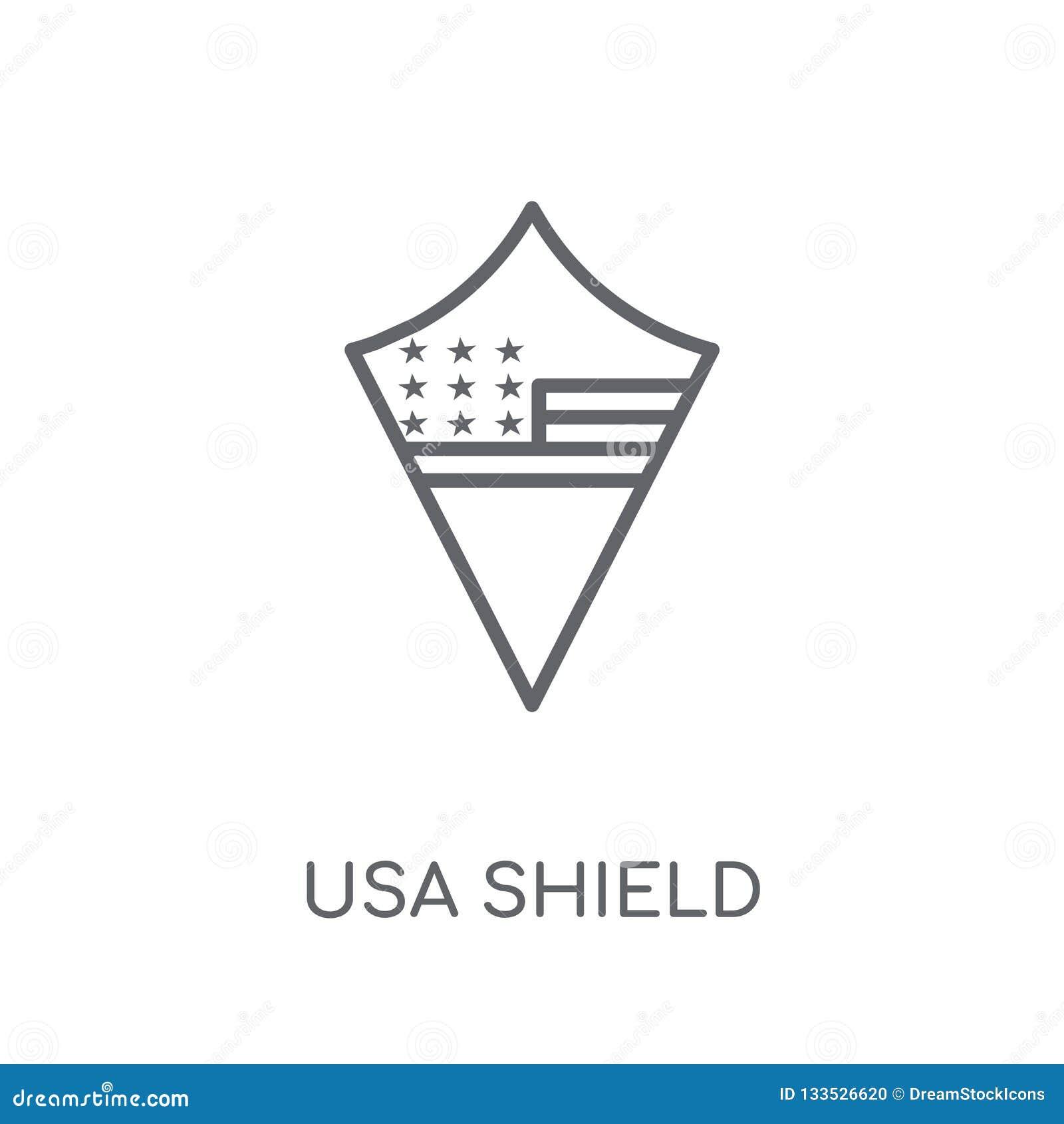 Los E.E.U.U. protegen el icono linear Concepto moderno o del logotipo del escudo de los E.E.U.U. del esquema