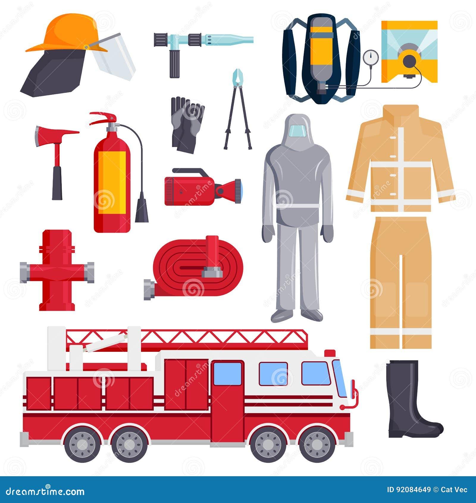 Los elementos del bombero colorearon el ejemplo del vector de la protección del equipo de seguridad de los iconos de la emergenci