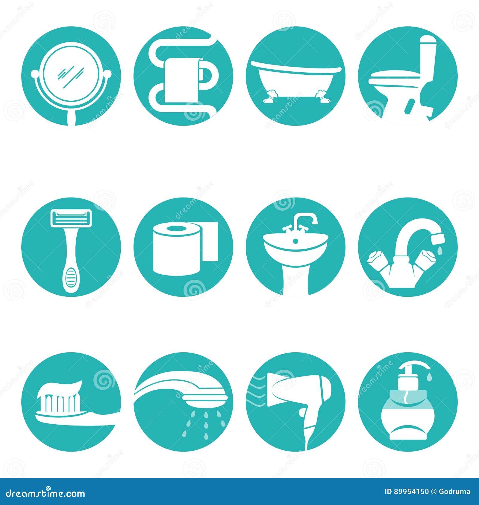 Los elementos necesarios del cuarto de ba o en logotipo for Elementos para el bano