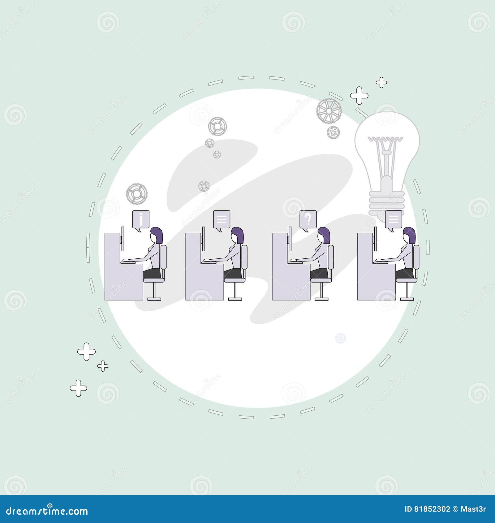 Los empresarios agrupan concepto creativo de trabajo del escritorio de Team Business People Sitting Office