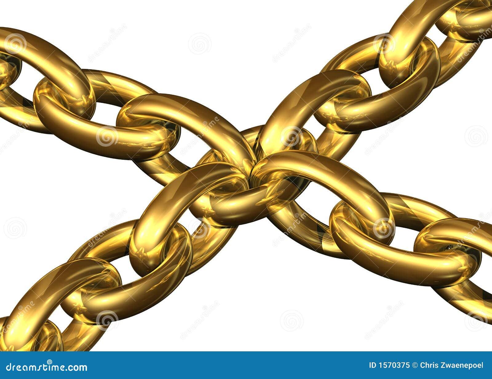 Los encadenamientos de oro guardaron el toghether al lado de un elemento de cadena central