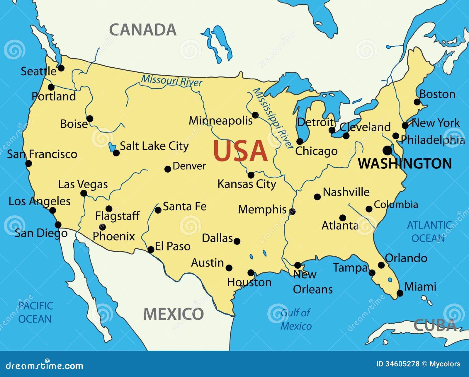 Los Estados Unidos De America Mapa Ilustracion Del Vector