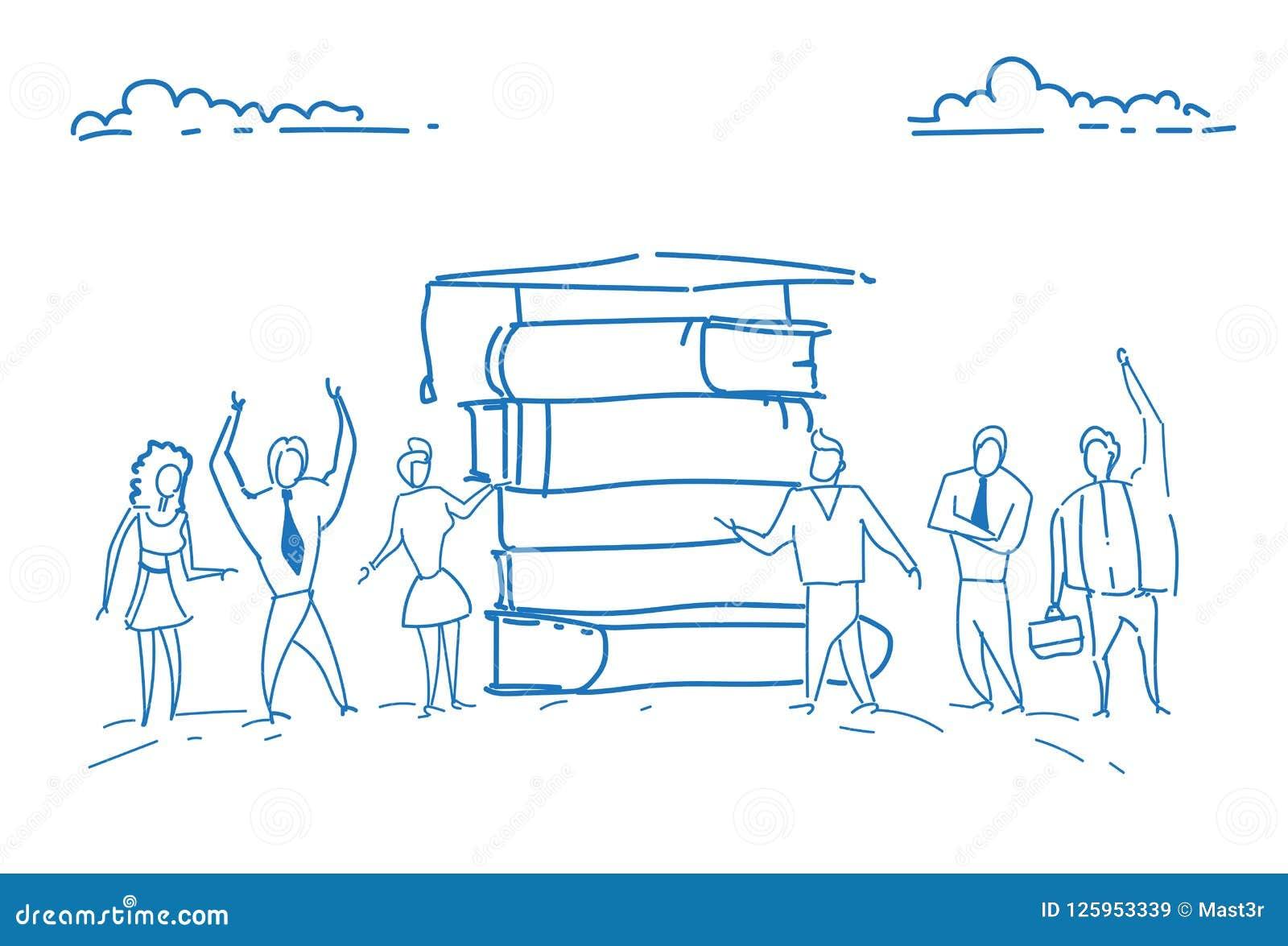 Los estudiantes que colocaban la pila de libro graduaron la mano acertada del garabato del bosquejo del conocimiento del estudio