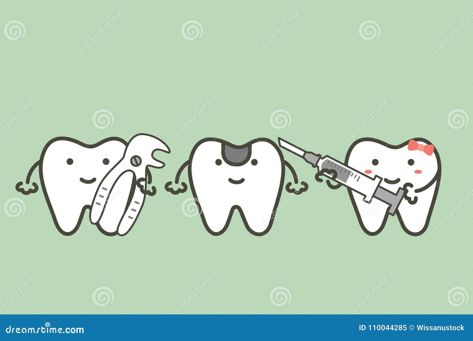 Los fórceps y la muchacha sanos del control del muchacho de los dientes sostienen la jeringuilla para la extracción del diente -