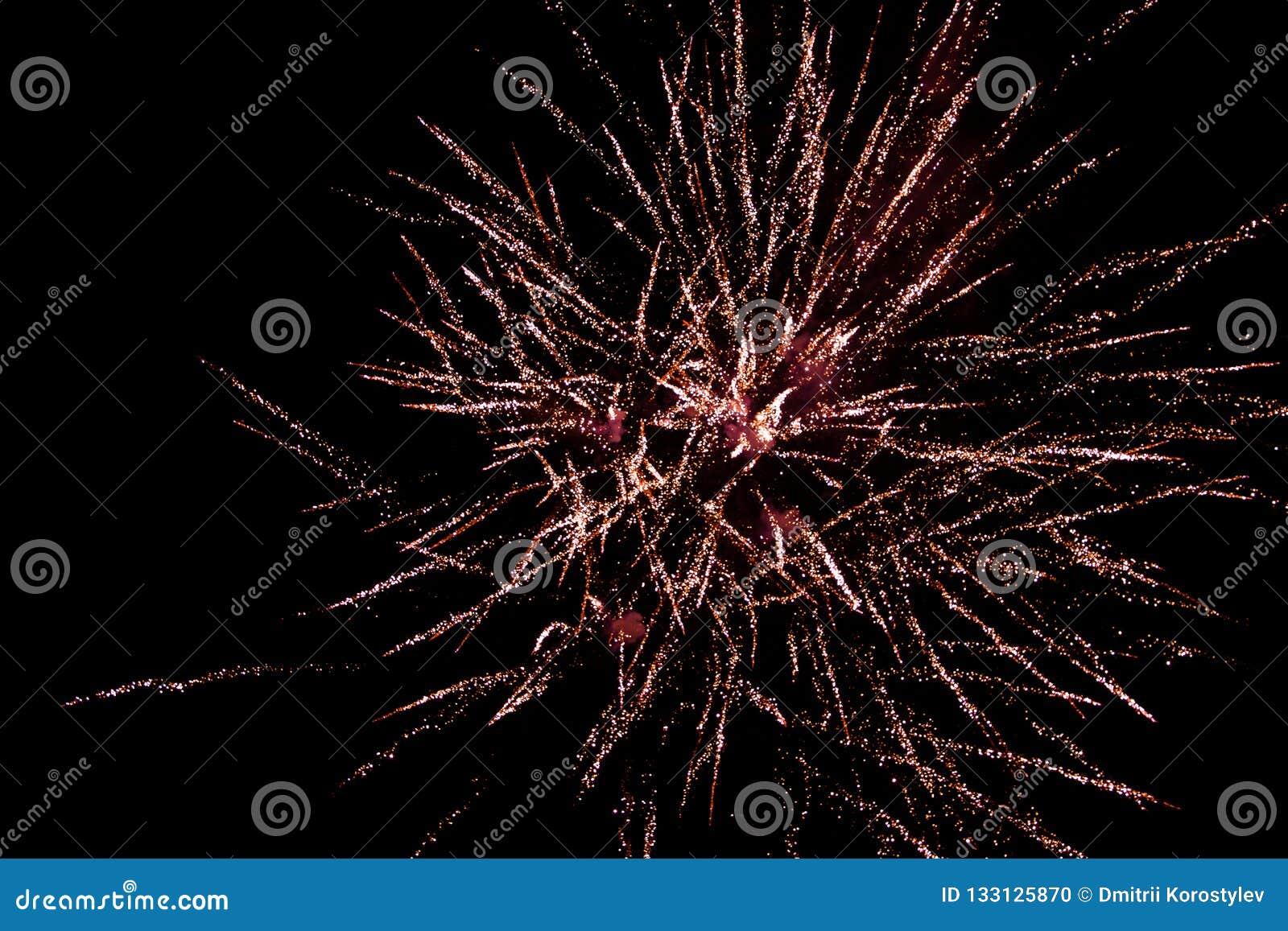 Los fuegos artificiales adaptan el cielo negro, saludo