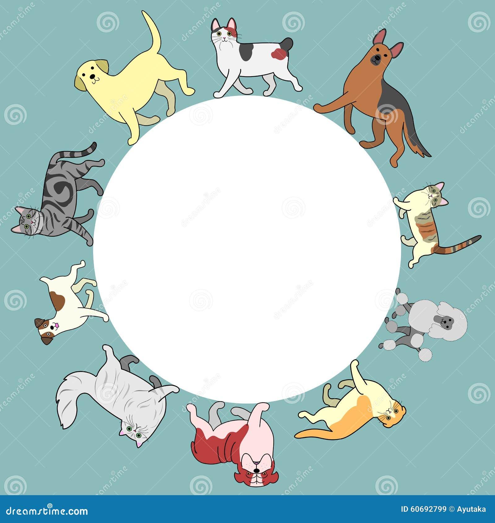 Los gatos y los perros circundan el marco con el espacio de la copia