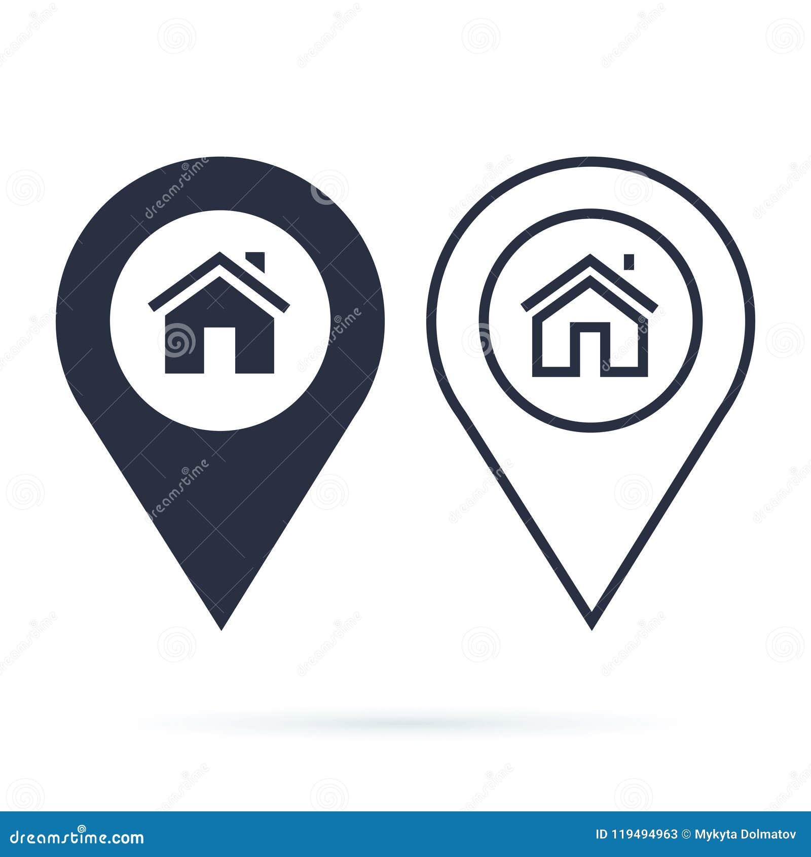 Los gps del hogar trazan el indicador, perno de la flecha del icono del perno del mapa, ubicación del compás