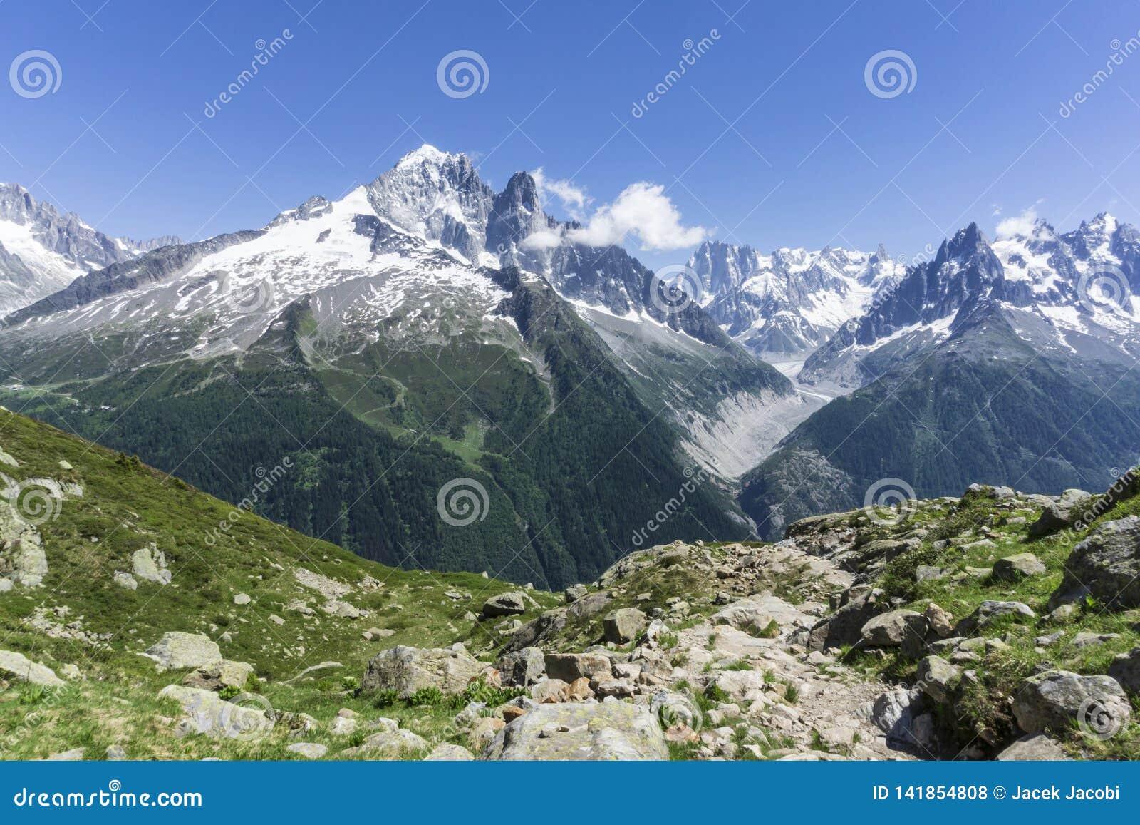 Los grandes picos del macizo de Mont Blanc montan@as
