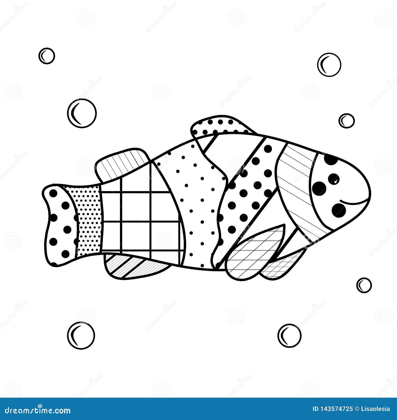 Los habitantes del mar Libro de colorear para los niños y los adultos con los elementos del zenart Pescados de la historieta con