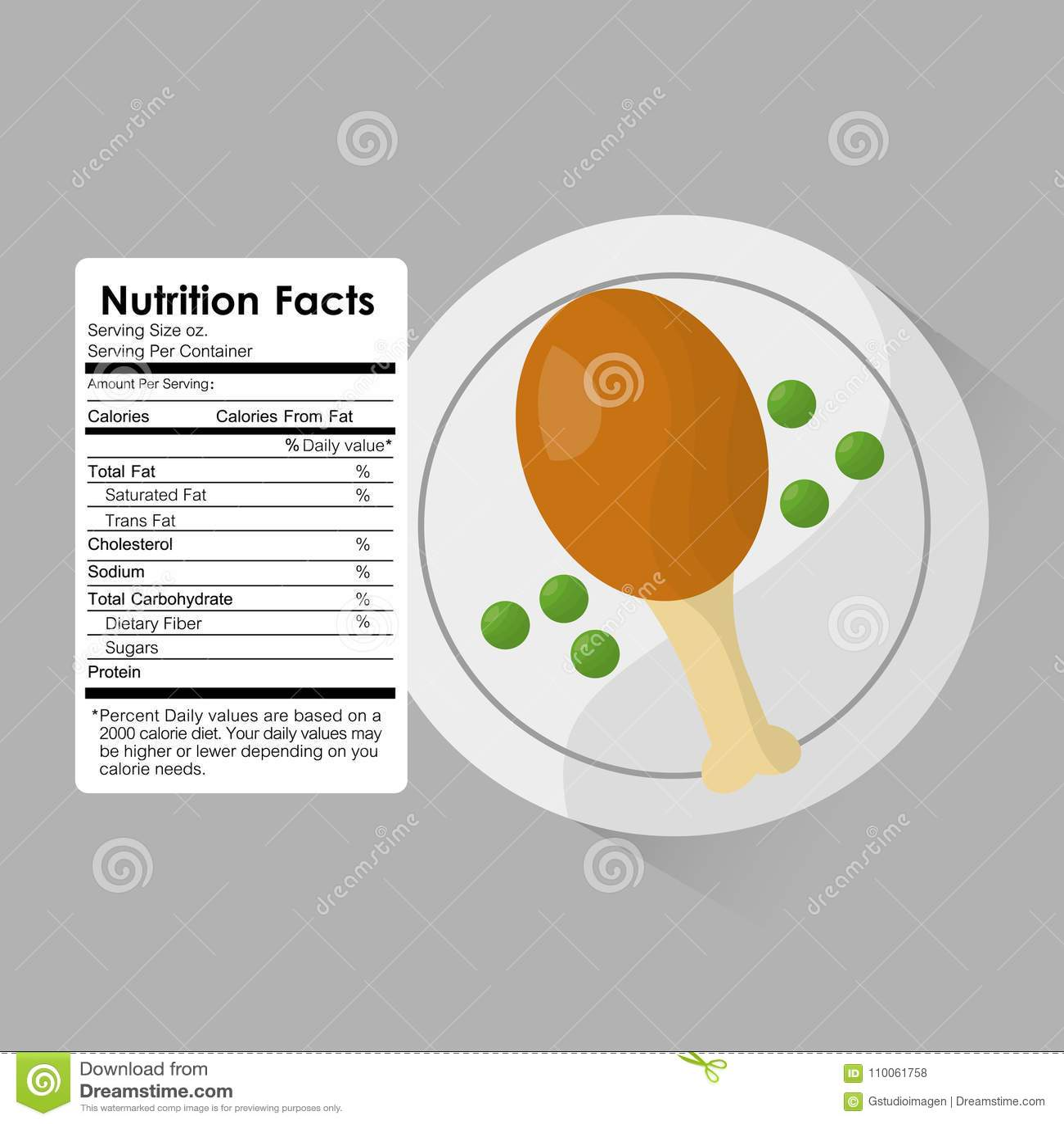 Los hechos de la nutrición del pollo asado y los guisantes etiquetan la plantilla contenta