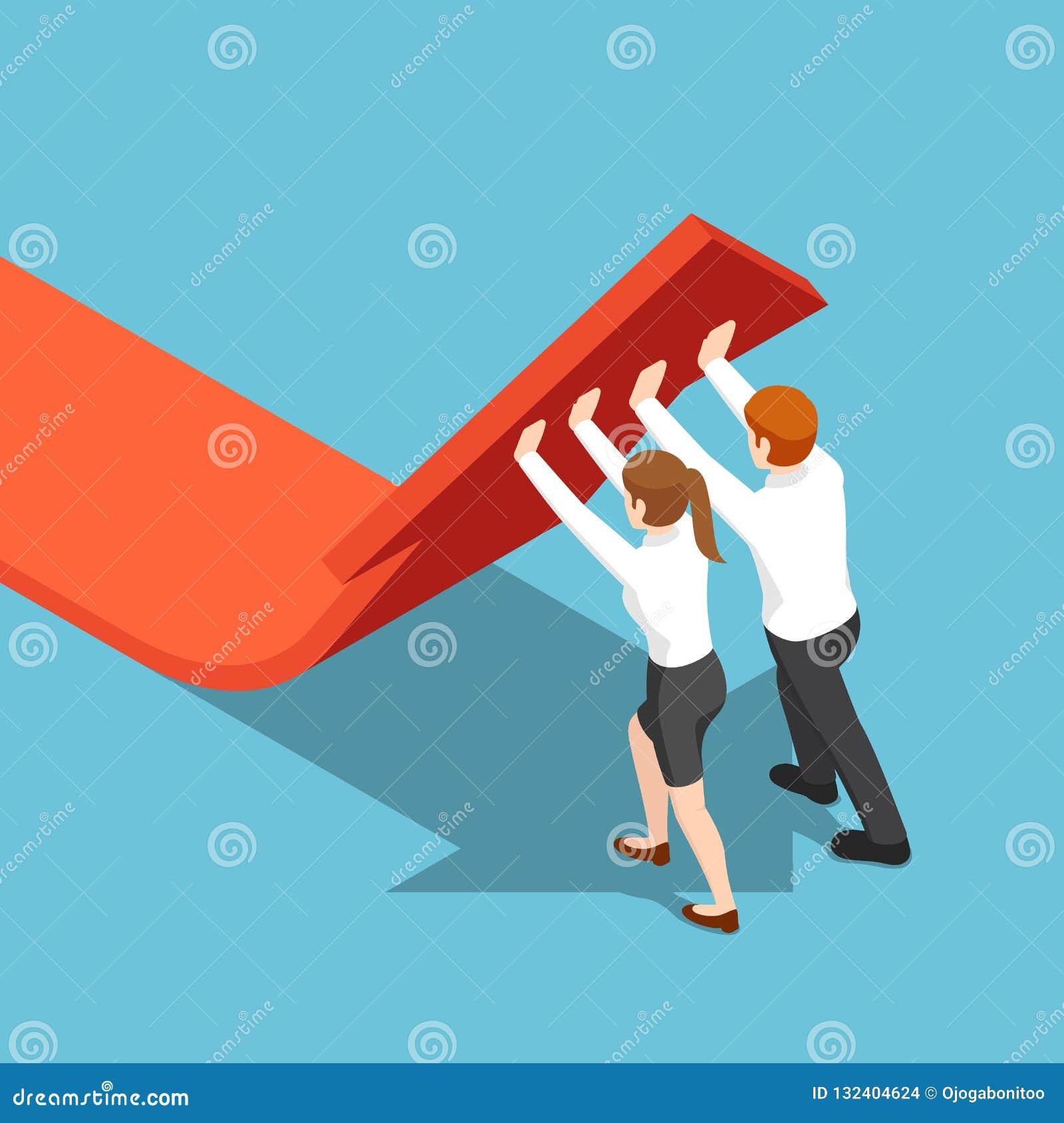 Los hombres de negocios isométricos empujan el gráfico de la flecha hacia arriba