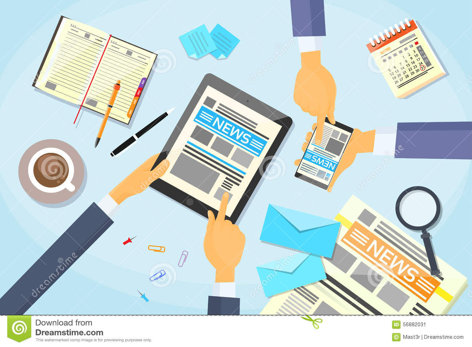 Los hombres de negocios leyeron el periódico, tableta Smart de las manos