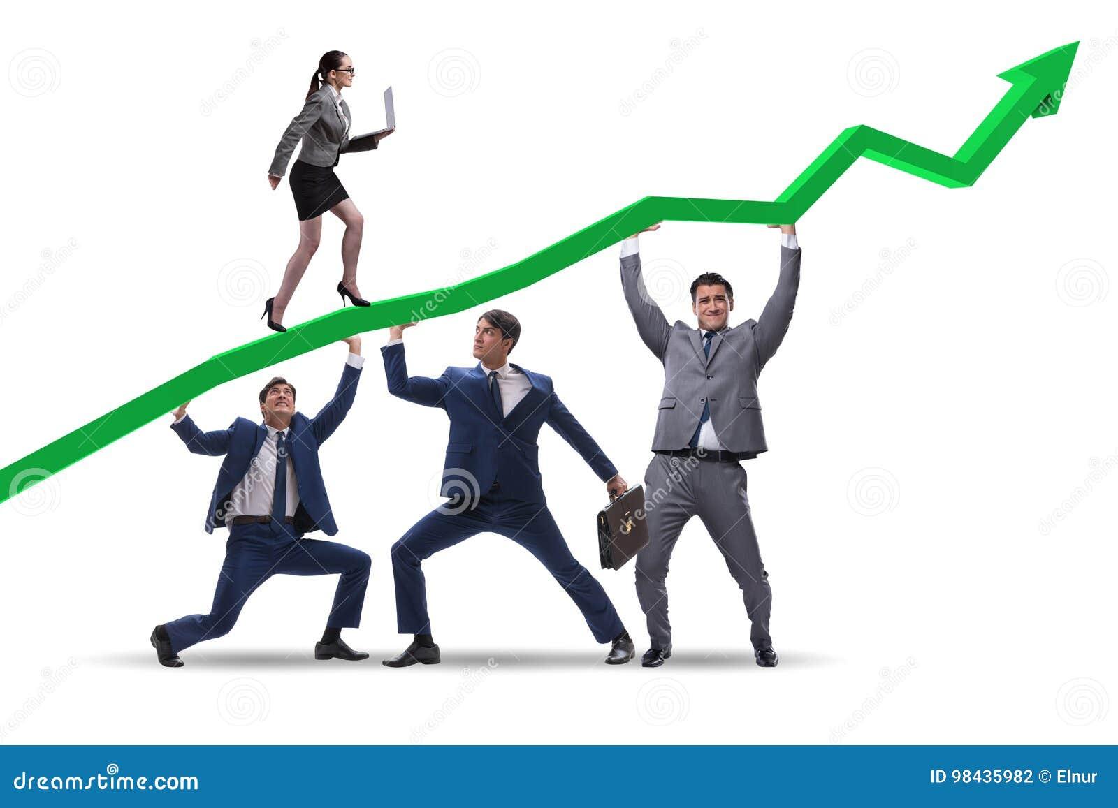 Los hombres de negocios que apoyan el desarrollo económico aislado en blanco