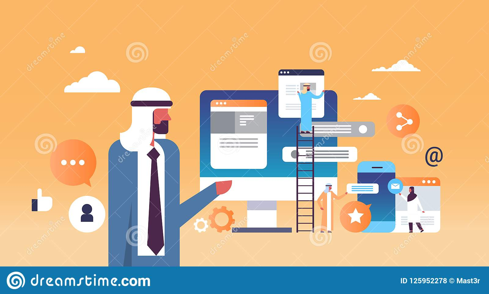 Los hombres de trabajo del concepto del desarrollo de aplicación móvil del discurso del hombre árabe que suben al mensajero de la