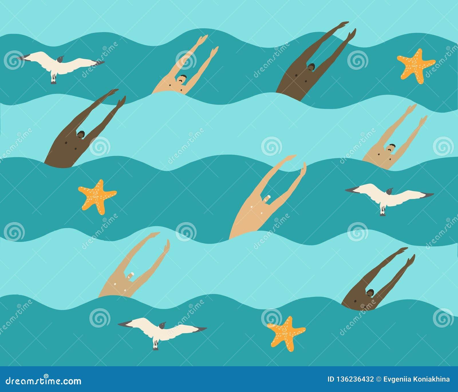 Los hombres nadan en el mar