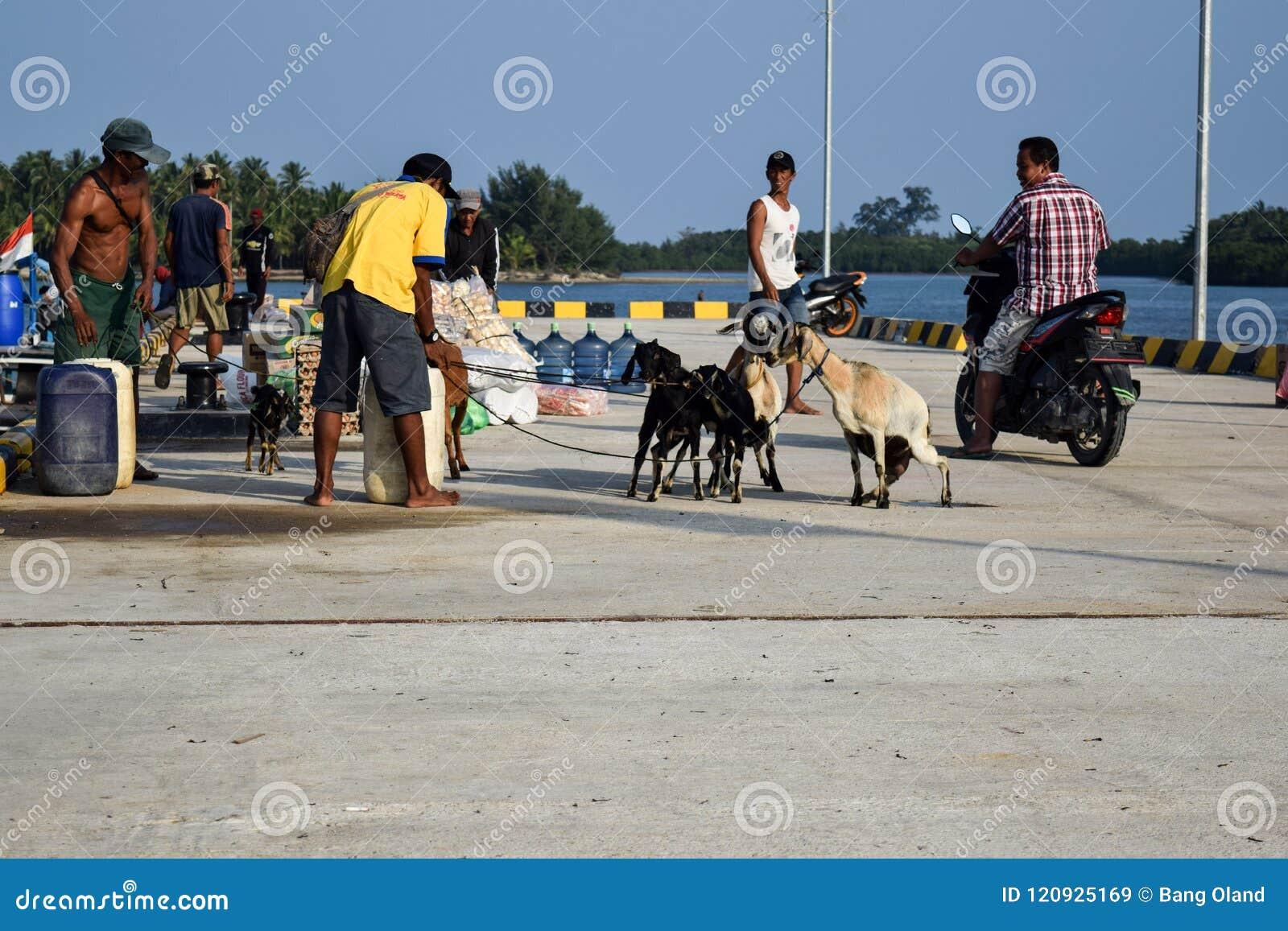 Los hombres negocian en una amplia variedad de ventas en los muelles de Sebesi en Lampung, en Indonesia