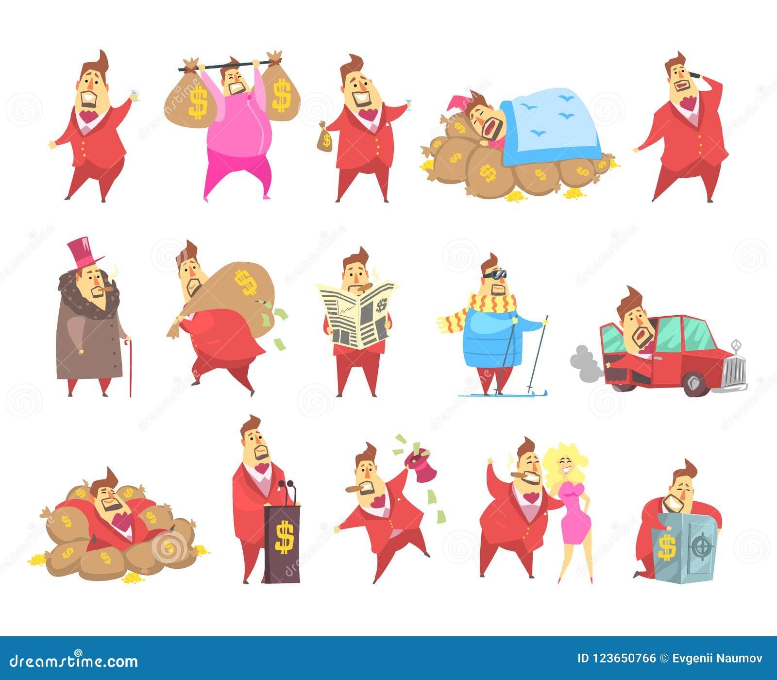Los hombres ricos en grasas del millonario en traje rojo, carácter capitalista divertido en diversas situaciones vector ejemplos