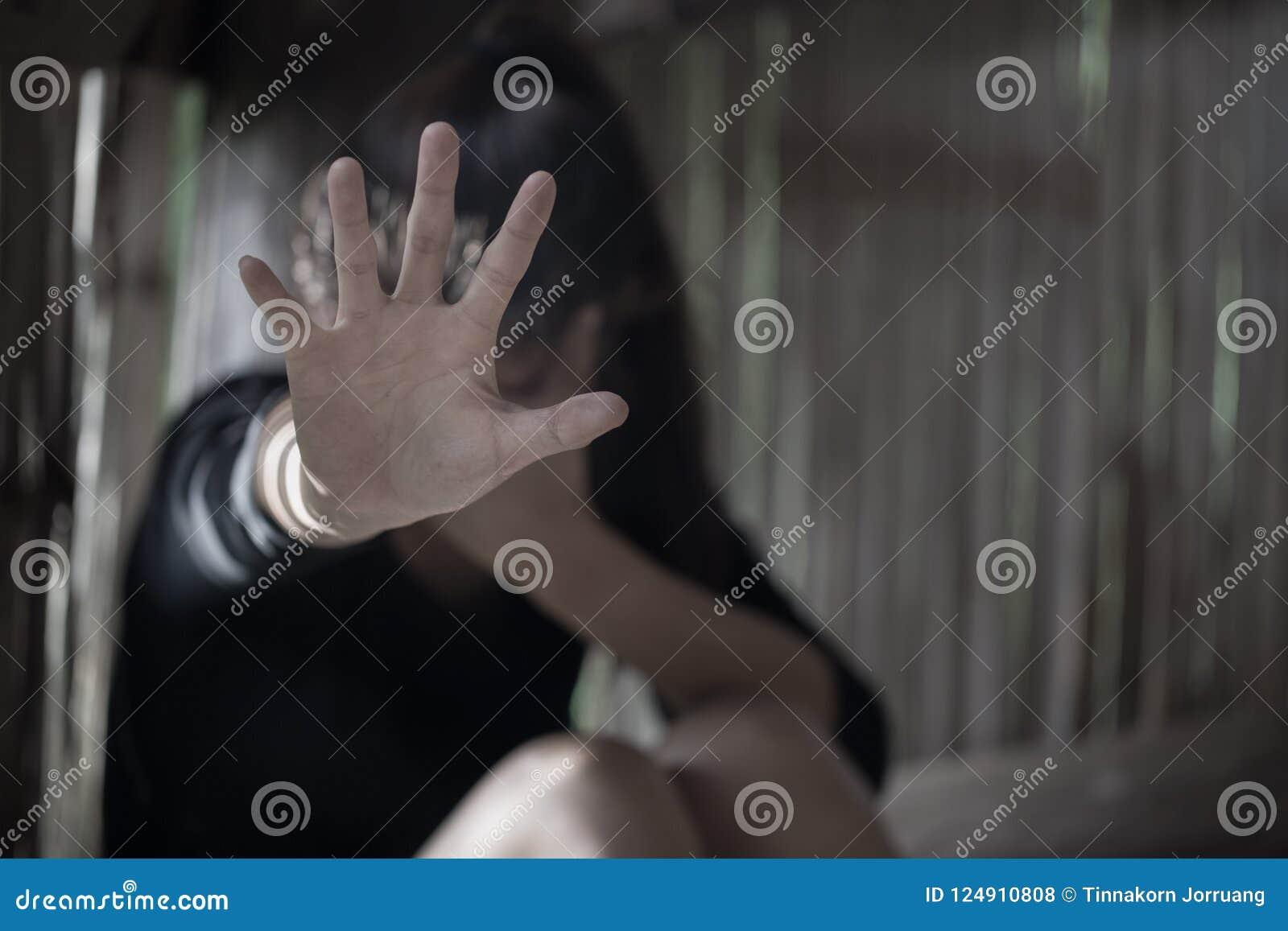 Los hombres son violentos a las mujeres, abusos sexuales de la parada, anti-traficando a