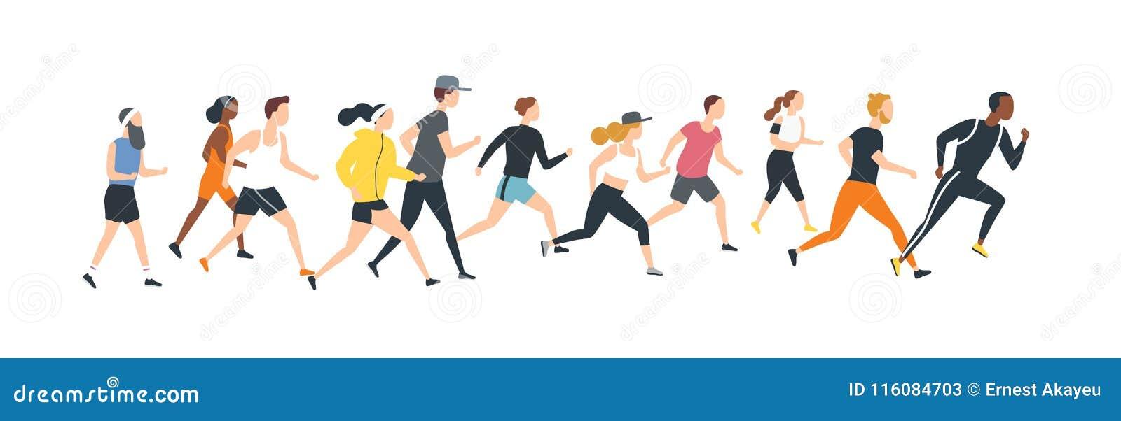 Los hombres y las mujeres se vistieron en la ropa de los deportes que funcionaba con el maratón Participantes del evento del atle