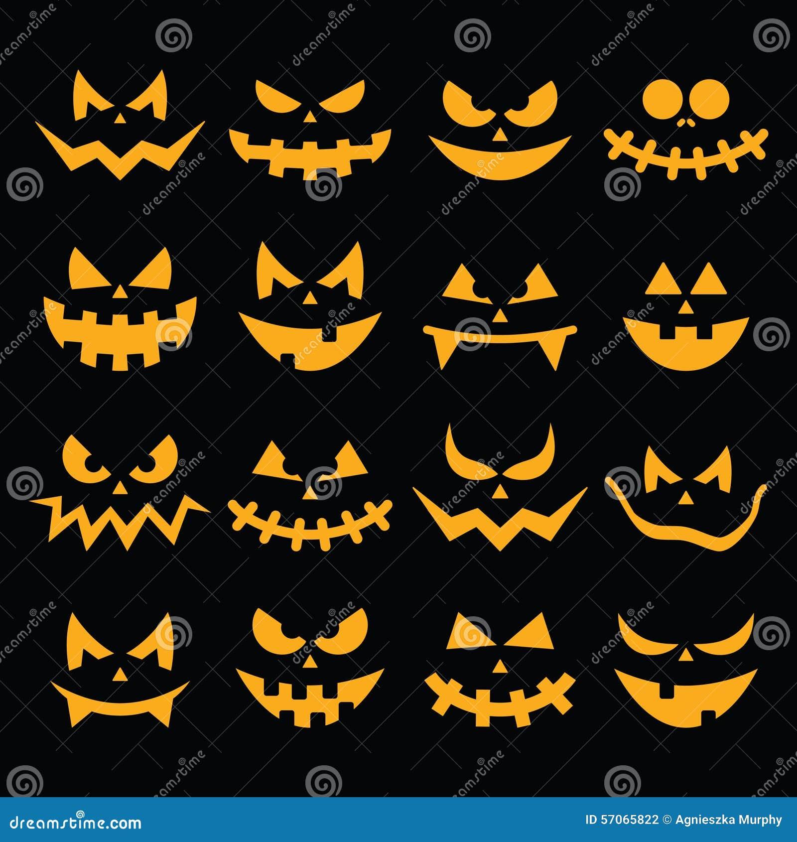 Los iconos anaranjados asustadizos de las caras de la - Disenos de calabazas de halloween ...