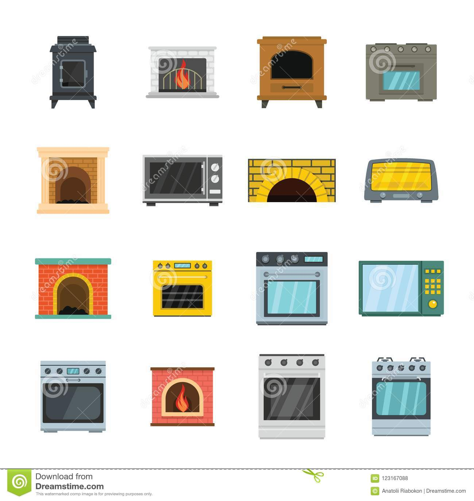 Los iconos de la chimenea del horno de la estufa del horno fijaron, estilo plano