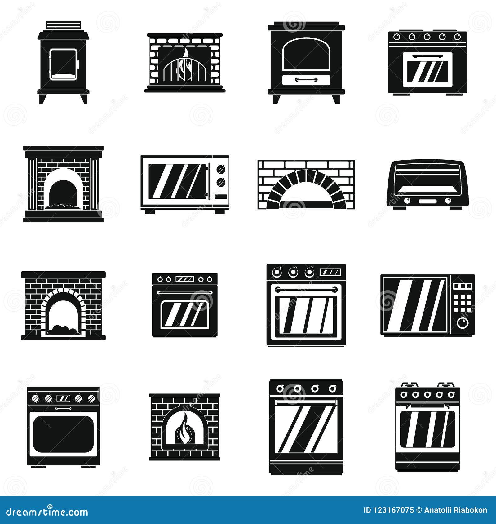 Los iconos de la chimenea de la estufa del horno fijaron, estilo simple